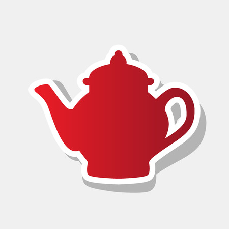 Tea maker sign. Vector. New year reddish icon with outside stroke and gray shadow on light gray background.