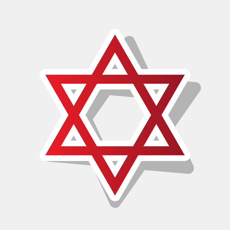 Shield Magen David Star. Symbol of Israel. Vector. New year reddish icon with outside stroke and gray shadow on light gray background. Illustration