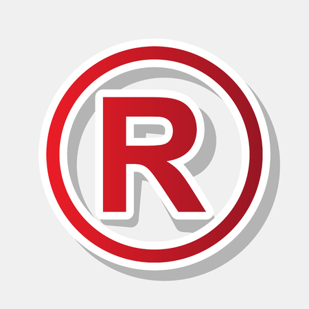 Registered Trademark sign. Vector. New year reddish icon with outside stroke and gray shadow on light gray background.