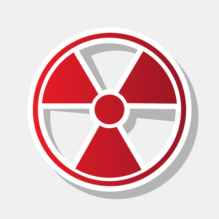 Radiation Round sign. Vector. New year reddish icon with outside stroke and gray shadow on light gray background.