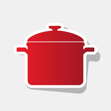 Cooking pan sign. Vector. New year reddish icon with outside stroke and gray shadow on light gray background.