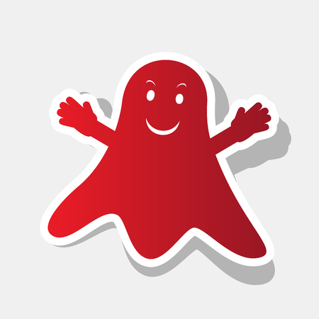 Ghost isolated sign. Vector. New year reddish icon with outside stroke and gray shadow on light gray background.