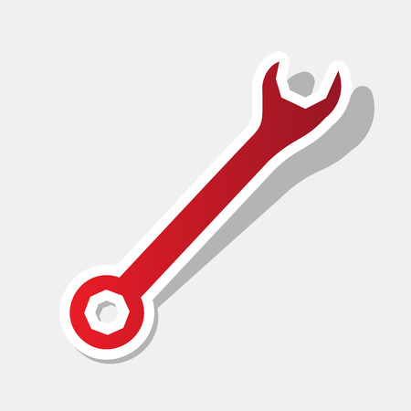 Crossed wrenches sign. Vector. New year reddish icon with outside stroke and gray shadow on light gray background.