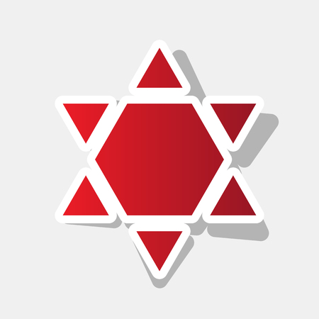 chanukkah: Shield Magen David Star Inverse. Symbol of Israel inverted. Vector. New year reddish icon with outside stroke and gray shadow on light gray background.