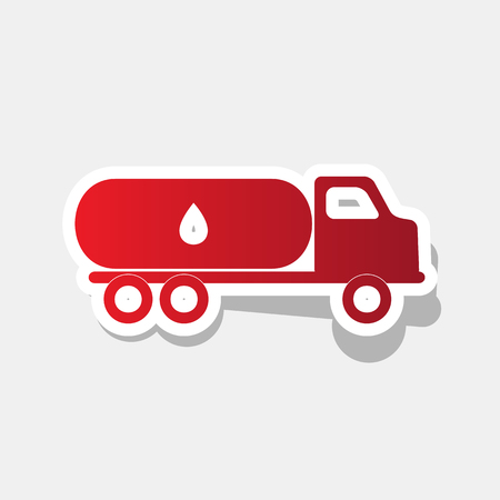 Car transports Oil sign. Vector. New year reddish icon with outside stroke and gray shadow on light gray background.