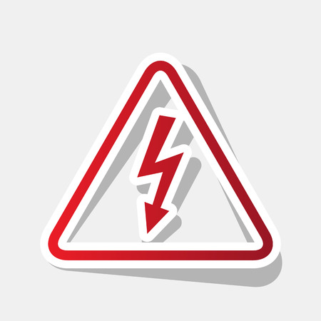 volte: High voltage danger sign. Vector. New year reddish icon with outside stroke and gray.