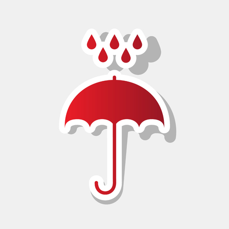 Umbrella with water drops. Rain protection symbol. Flat design style.