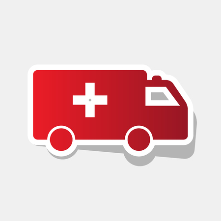 Ambulance sign illustration. Vector. New year reddish icon with outside stroke. Illustration