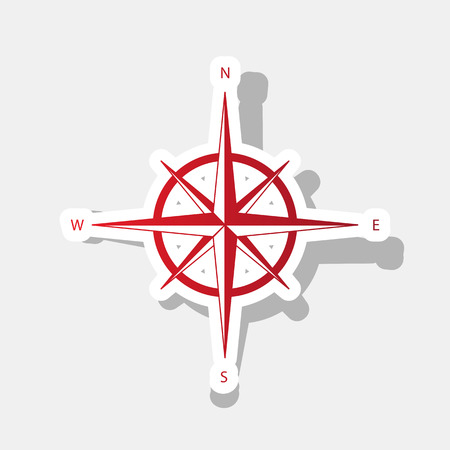 Wind rose sign. Vector. New year reddish icon with outside stroke and gray shadow on light gray background.