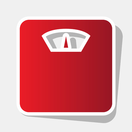 analog weight scale: Bathroom scale sign. Vector. New year reddish icon with outside stroke and gray shadow on light gray background.