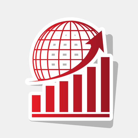 Growing graph with earth. Vector. New year reddish icon with outside stroke and gray shadow on light gray background.