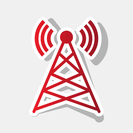 tv tower: Antenna sign illustration. Vector. New year reddish icon with outside stroke and gray shadow on light gray background.