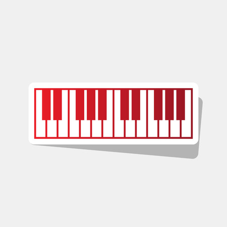 Piano Keyboard sign. Vector. New year reddish icon with outside stroke and gray shadow on light gray background.