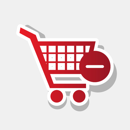 Vector Shopping Cart with Remove sign. Vector. New year reddish icon with outside stroke. Illustration