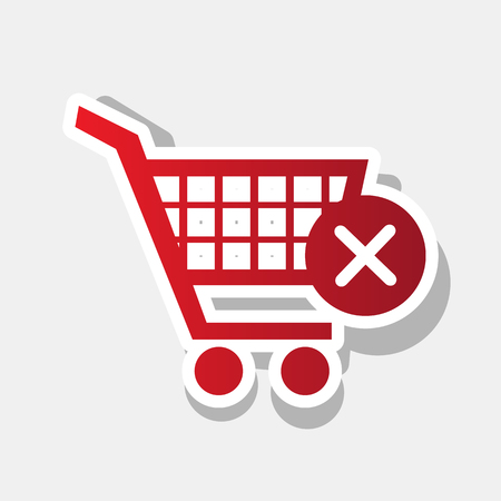 Shopping Cart with delete sign. Vector. New year reddish icon with outside stroke and gray shadow on light gray background. Illustration
