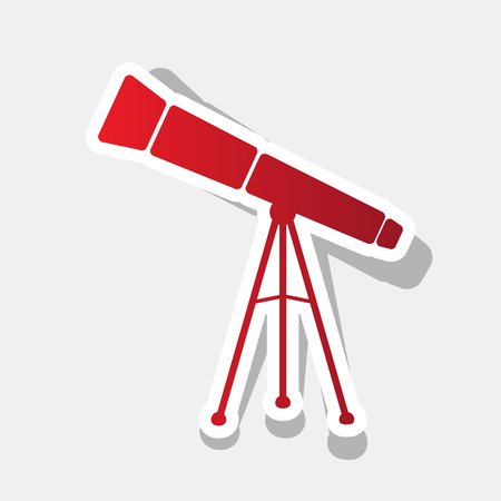 Telescope simple sign. Vector. New year reddish icon with outside stroke and gray shadow.