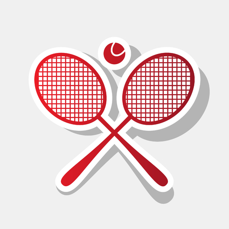 Tennis racket sign. Vector. New year reddish icon with outside stroke and gray shadow on light gray background. Illustration