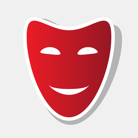 theatrical performance: Comedy theatrical masks. Vector. New year reddish icon with outside stroke and gray shadow on light gray background. Illustration