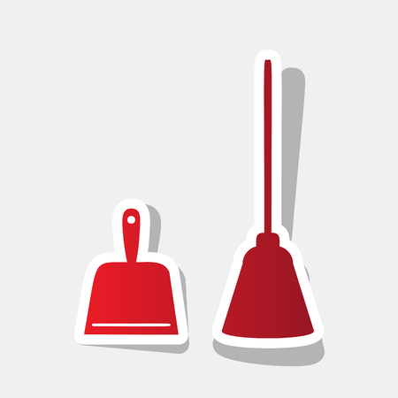 sweeper: Dustpan vector sign. Scoop for cleaning garbage housework dustpan equipment.