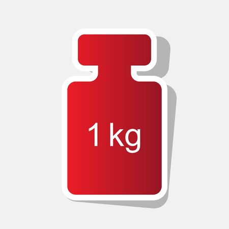 Weight simple sign. Vector. New year reddish icon with outside stroke and gray shadow on light gray background.