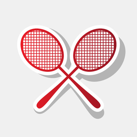 Tennis racquets sign. Vector. New year reddish icon with outside stroke and gray shadow on light gray background.
