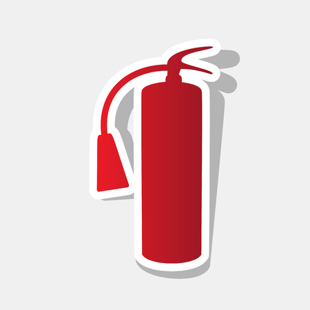 Fire extinguisher sign. Vector. New year reddish icon with outside stroke and gray shadow on light gray background. Illustration