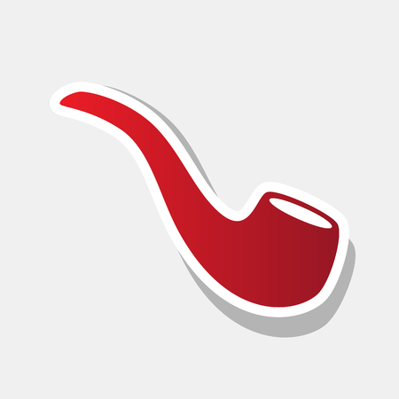 Smoke pipe sign. Vector. New year reddish icon with outside stroke and gray shadow on light gray background.