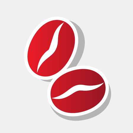 Coffee beans sign. Vector. New year reddish icon with outside stroke and gray shadow on light gray background.