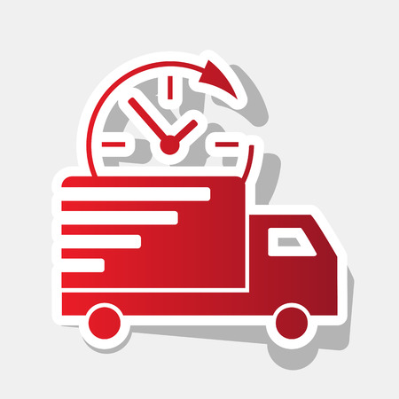 semitruck: Delivery sign illustration. Vector. New year reddish icon with outside stroke and gray shadow on light gray background.