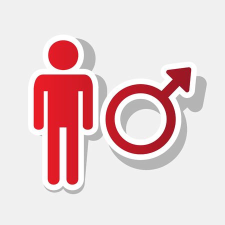 andropause: Male sign illustration. Vector. New year reddish icon with outside stroke and gray shadow on light gray background.