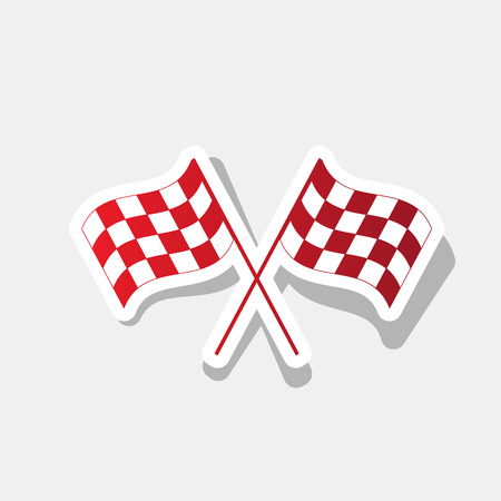 Crossed checkered flags logo waving in the wind conceptual of motor sport. Vector. New year reddish icon with outside stroke and gray shadow on light gray background.