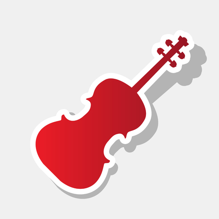 Violine sign illustration. Vector. New year reddish icon with outside stroke and gray shadow on light gray background.