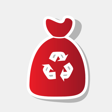 Trash bag icon. Vector. New year reddish icon with outside stroke and gray shadow on light gray background.