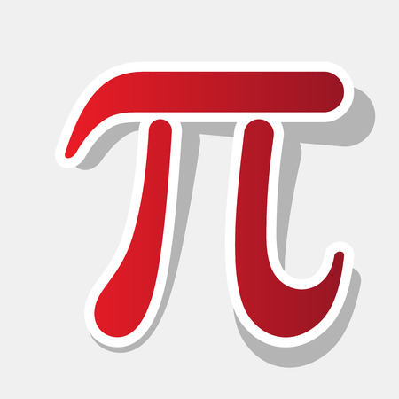constant: Pi sign illustration. Vector. New year reddish icon with outside stroke and gray shadow on light gray background. Illustration