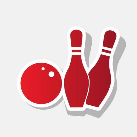 Bowling sign illustration. Vector. New year reddish icon with outside stroke and gray shadow on light gray background. Illustration