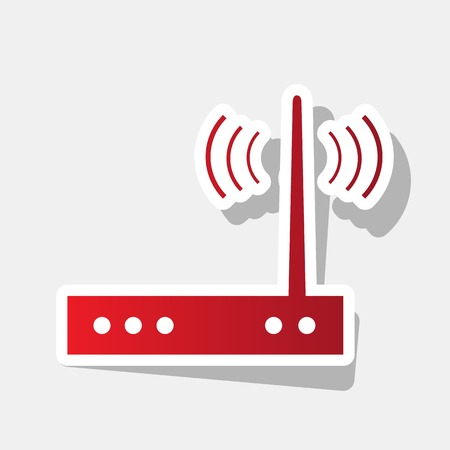 Wifi modem sign. Vector. New year reddish icon with outside stroke and gray shadow on light gray background.