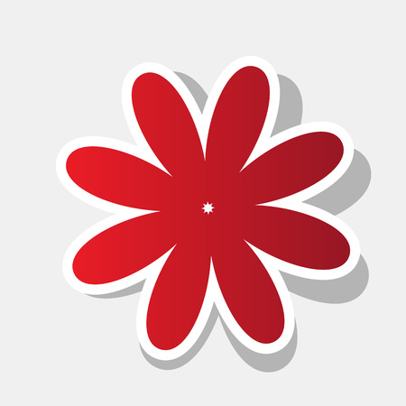 Flower sign illustration. Vector. New year reddish icon with outside stroke and gray shadow on light gray background.