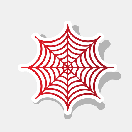 Spider on web illustration. Vector. New year reddish icon with outside stroke and gray shadow on light gray background.