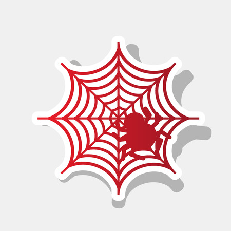 Spider on web illustration Vector. New year reddish icon with outside stroke and gray shadow on light gray background. Illustration