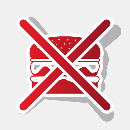 No burger sign. Vector. New year reddish icon with outside stroke and gray shadow on light gray background.