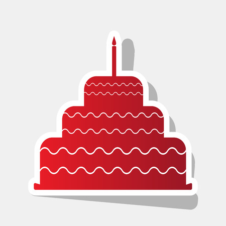 Cake with candle sign. Vector. New year reddish icon with outside stroke and gray shadow on light gray background.