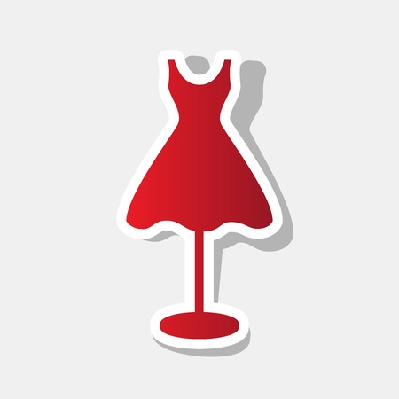 dress form: Mannequin with dress sign. Vector. New year reddish icon with outside stroke and gray shadow on light gray background. Illustration