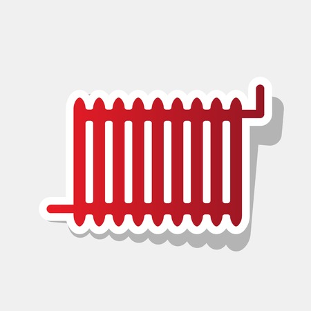 gas radiator: Radiator sign. Vector. New year reddish icon with outside stroke and gray shadow on light gray background.