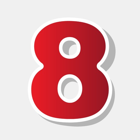 Number 8 sign design template element. Vector. New year reddish icon with outside stroke and gray shadow on light gray background.