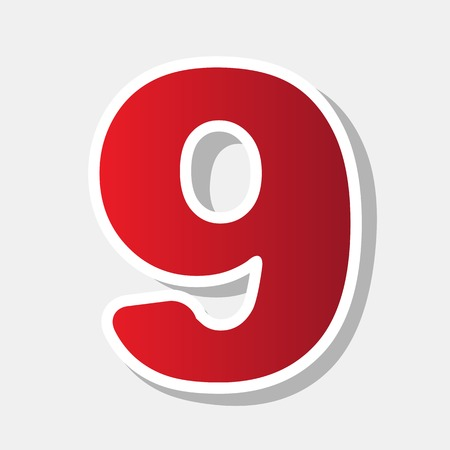 Number 9 sign design template element. Vector. New year reddish icon with outside stroke and gray shadow on light gray background.