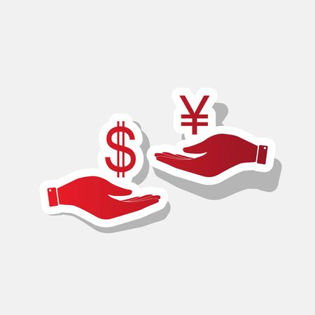 Currency exchange from hand to hand. Dollar and Yen. Vector. New year reddish icon with outside stroke and gray shadow on light gray background.