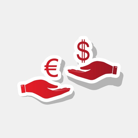 Currency exchange from hand to hand. Euro and Dollar. Vector. New year reddish icon with outside stroke and gray shadow on light gray background.
