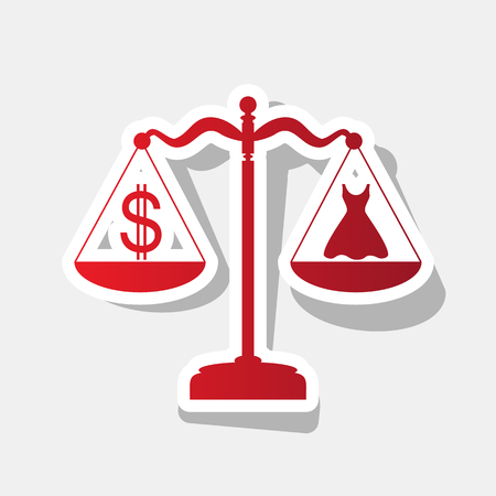 Dress and dollar symbol on scales. Vector. New year reddish icon with outside stroke and gray shadow on light gray background. Illustration