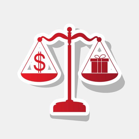 administrador de empresas: Regalo y símbolo del dólar en escalas. Vector. Icono rojizo de año nuevo con trazo exterior y sombra gris sobre fondo gris claro.