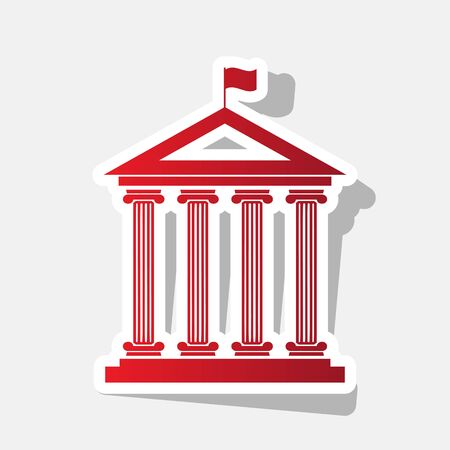 Historical building with flag. Vector. New year reddish icon with outside stroke and gray shadow on light gray background.